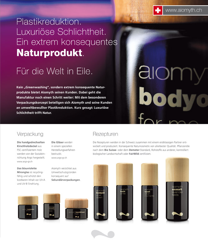 Print Design Flyer für Aiomyth Schweiz