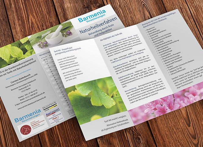 Printdesign Flyer für Barmenia Versicherungen