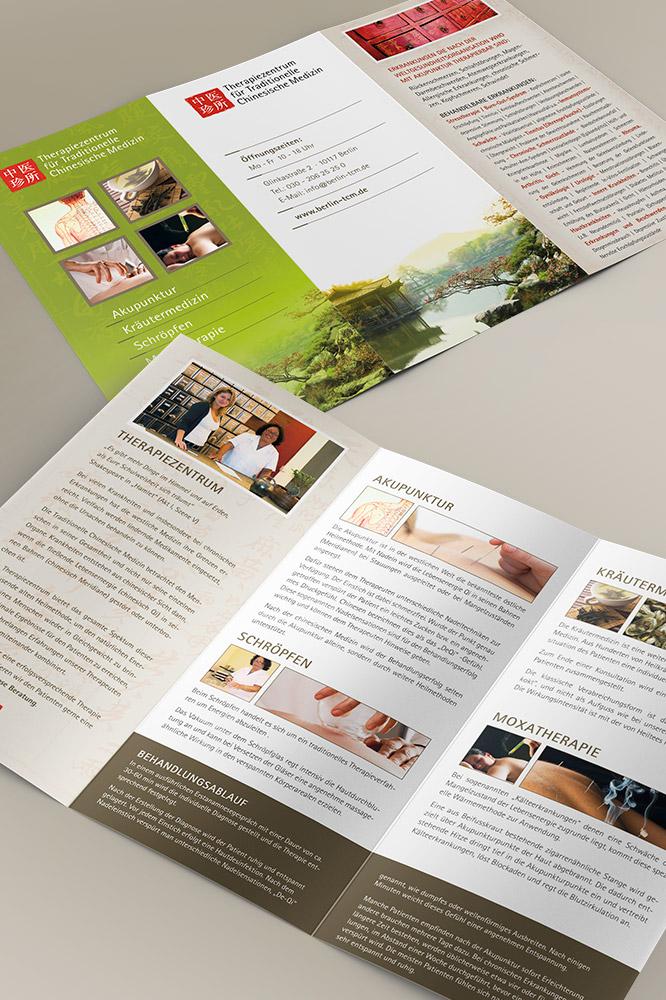 Print Design Flyer für Therapiezentrum für Traditionelle Chinesische Medizin in Berlin