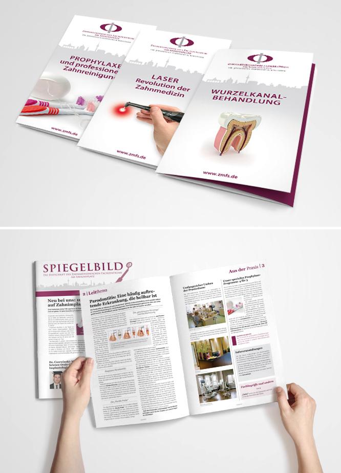 Grafikdesign Fyer-Serie für Zahnmedizinisches Fachzentrum am Savignyplatz Berlin