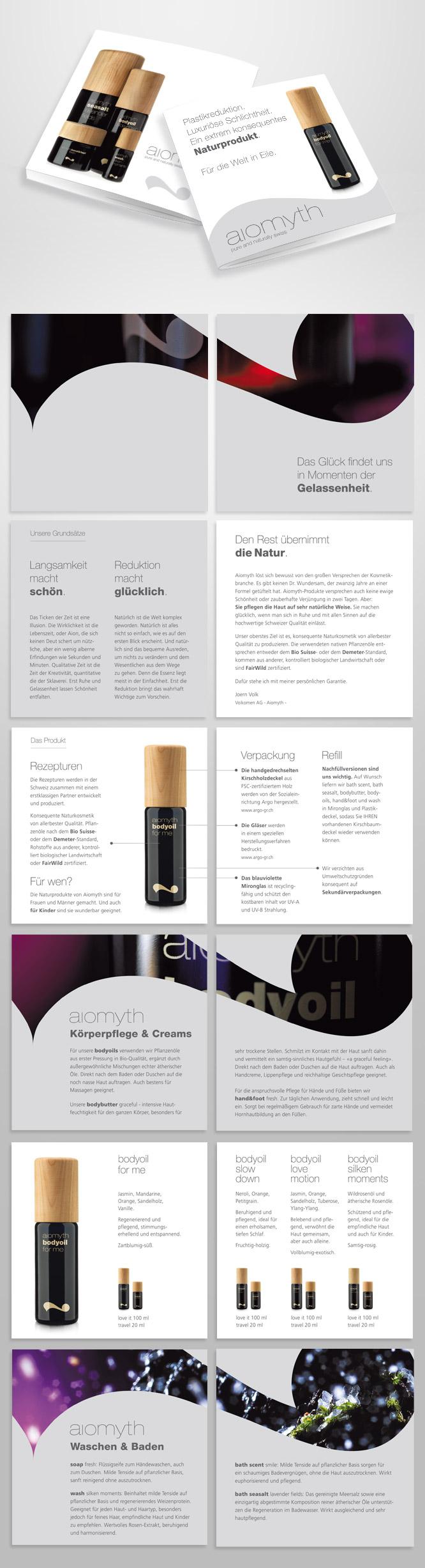 Grafikdesign Infobroschüre für Aiomyth Schweiz