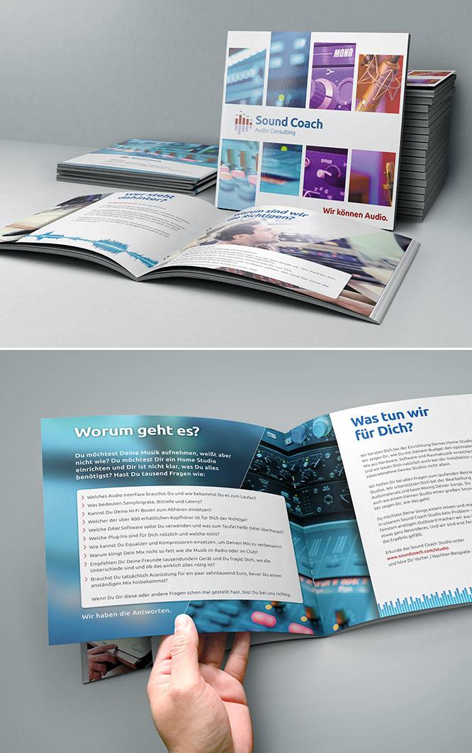 Print Design Infobroschüre für Sound Coach – Audio Consulting