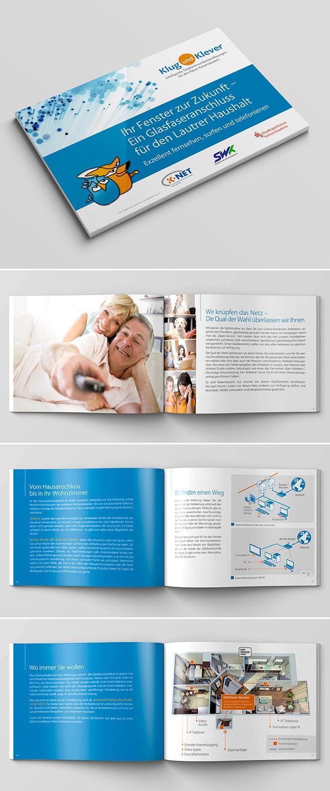 Printdesign - Infobroschüre für Telekommunikation-Unternehmen Klug und Klever
