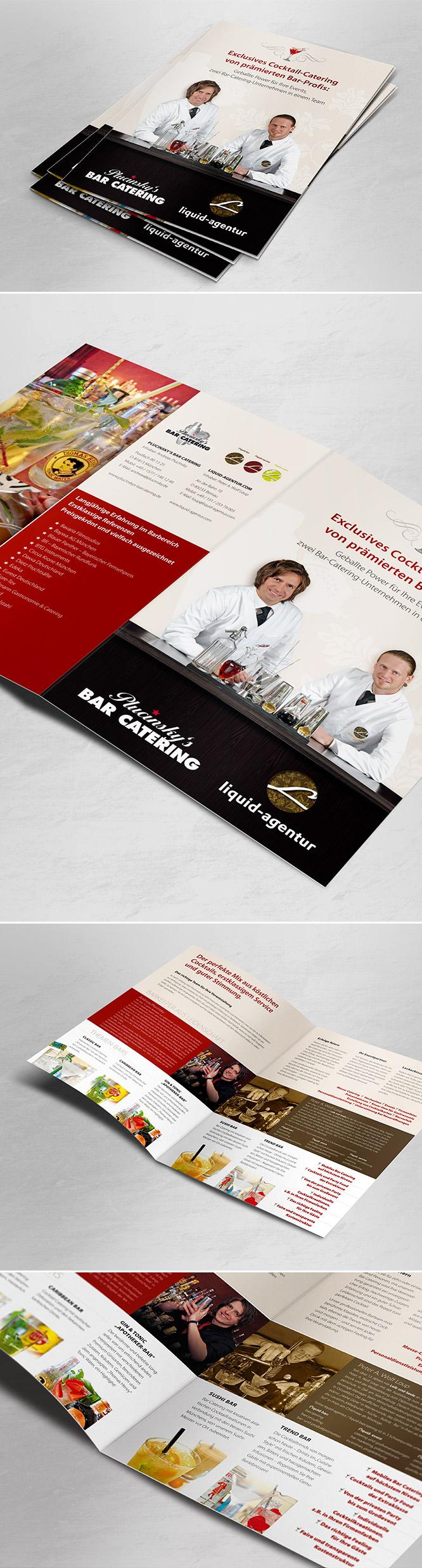 Grafikdesign Firmenprospekt für Plucinskys Bar Catering