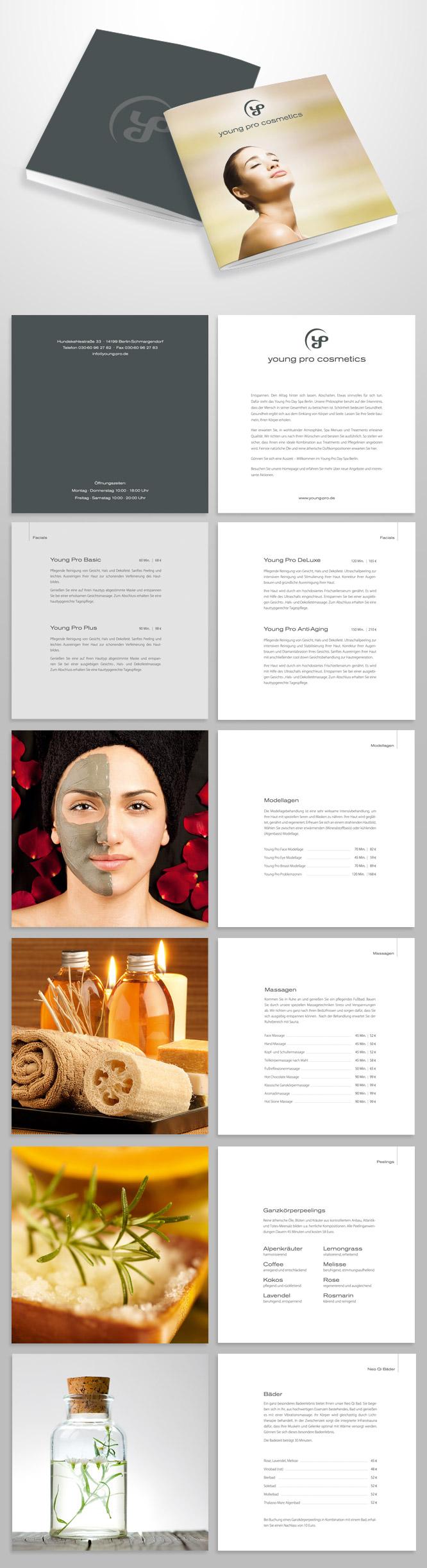 Grafikdesign - Infobroschüre für Young Pro Cosmetics, Kosmetik-Institut aus Berlin
