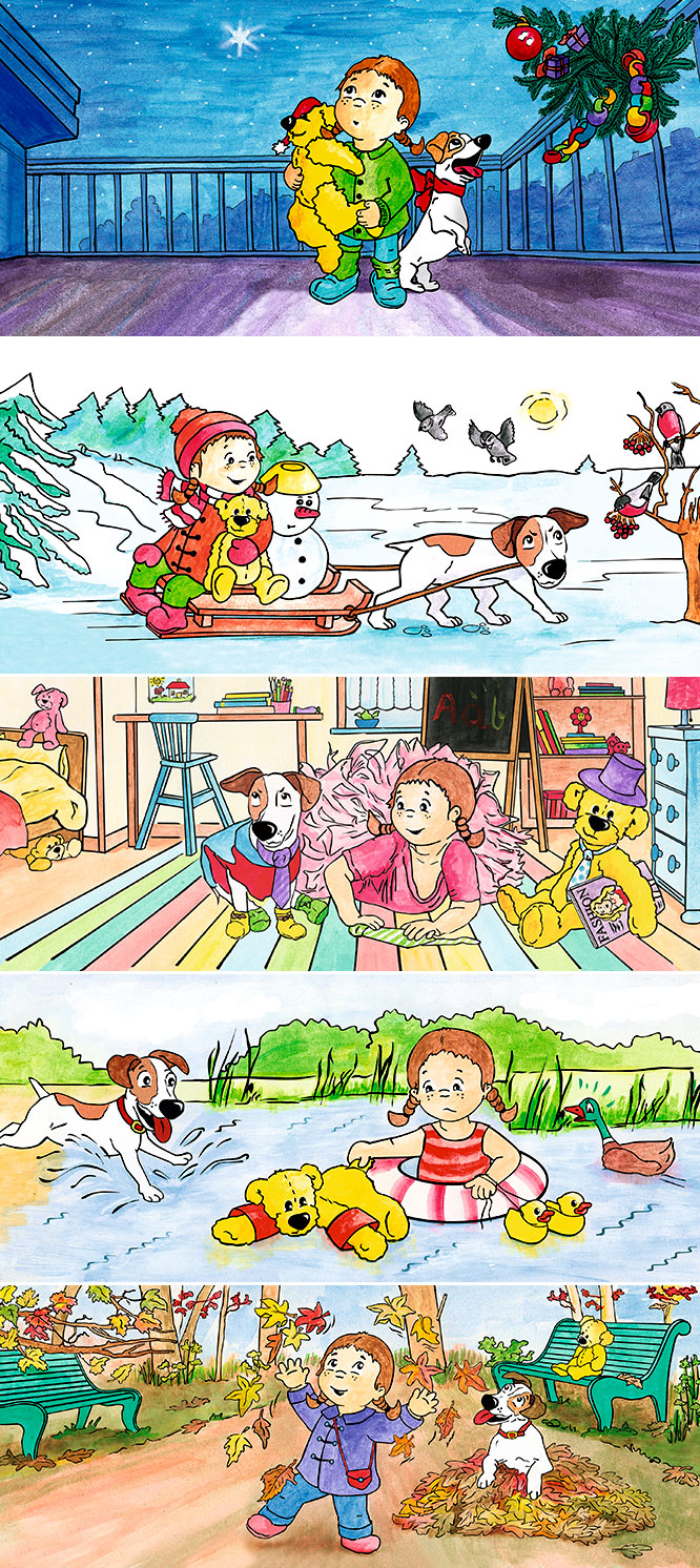Grafikdesign und Illustrationen für einen Familienplaner