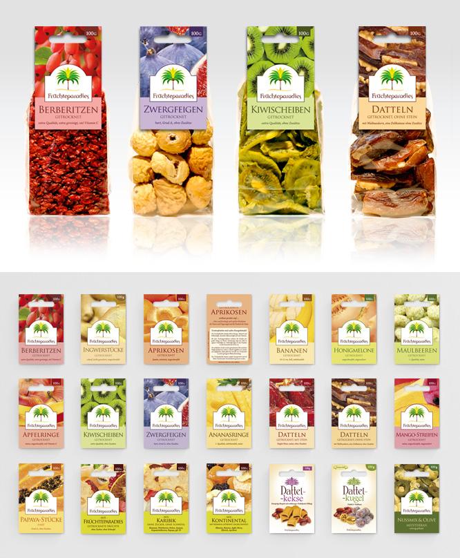 Verpackungsdesign für Lebensmittel Trockenfrüchte