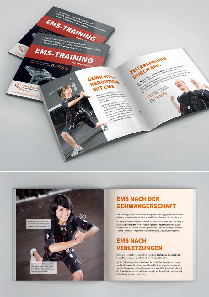 Print Design Info-Broschüre für EMS Training Berlin