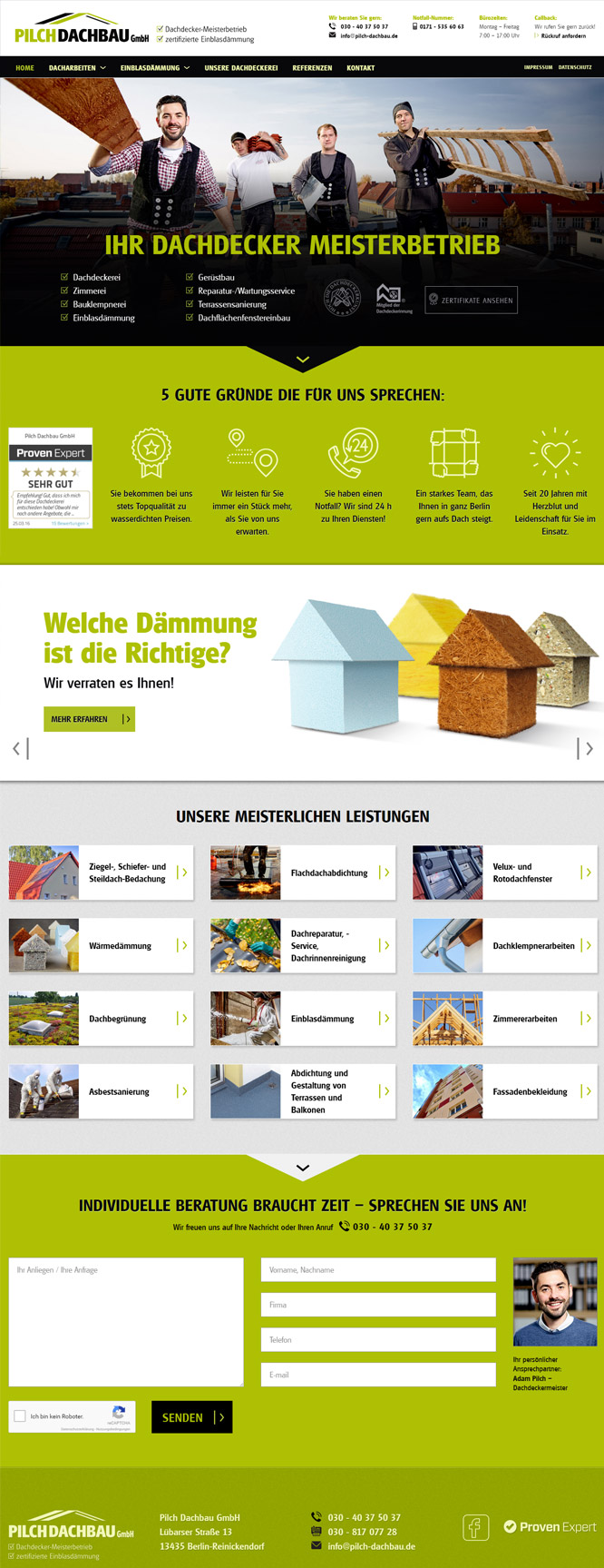 Webdesign Berlin - Portfolio. Moderne responsive Internetseite für einen Dachdecker aus Berlin.