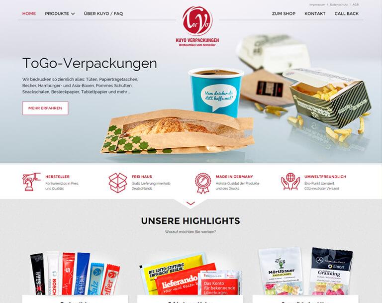 Internetseite Relaunch für KUYO Verpakungen. Webdesign aus Berlin