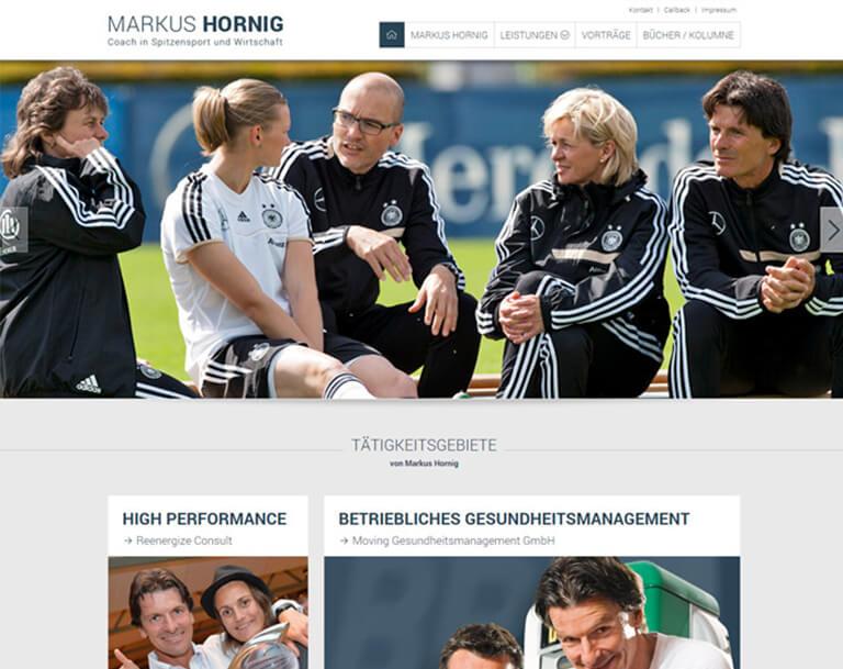 Responsive Webdesign für die neue Webseite für Markus Hornig