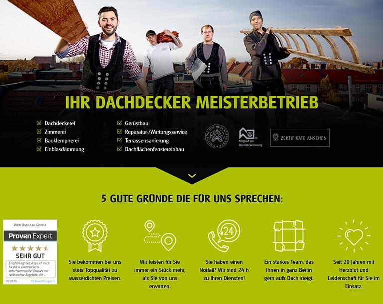 Erstellung der neuen Webseite für Dachdecker Pilch aus Berlin. Responsive Webdesign