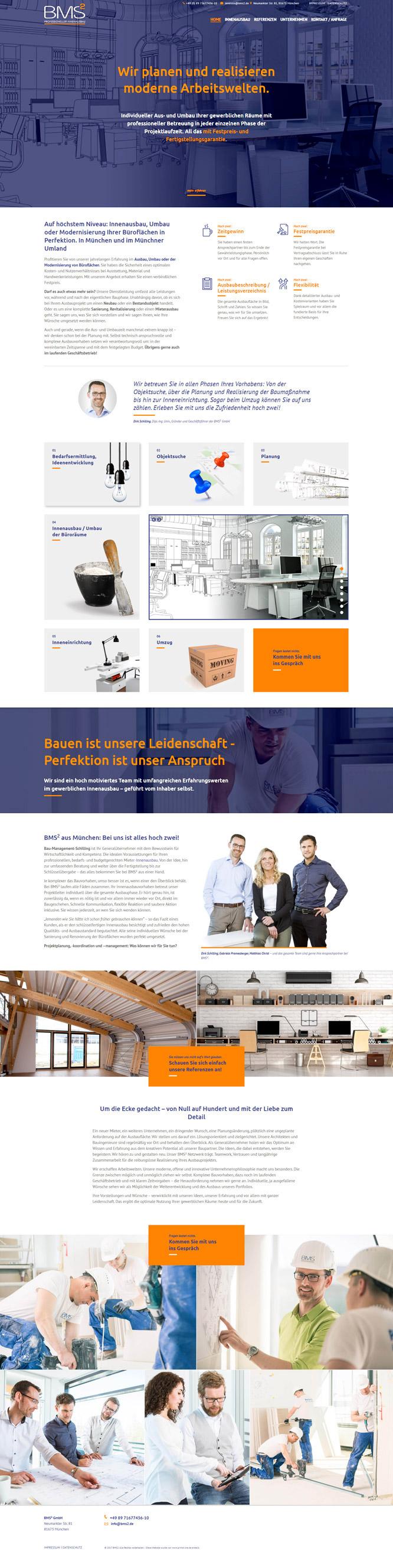 PRIMA LINE Berlin erstellt eine Website für BMS2 – Innenausbau aus München
