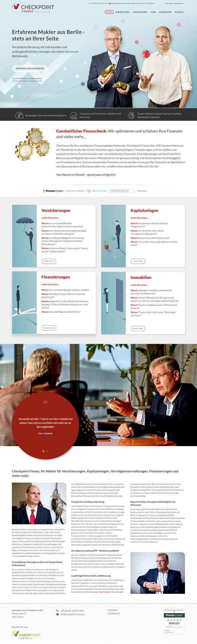 Neues Webdesign für Berliner Finanzprofis von CheckPoint Finanz