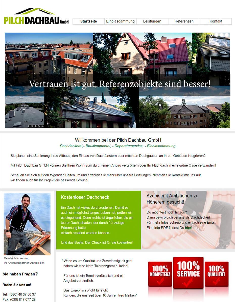 Pilch Dachbau: vor dem Website Relaunch