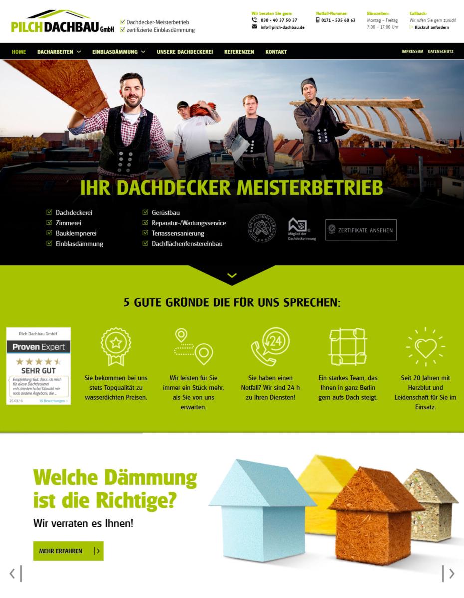 Pilch Dachbau: nach dem Website Relaunch