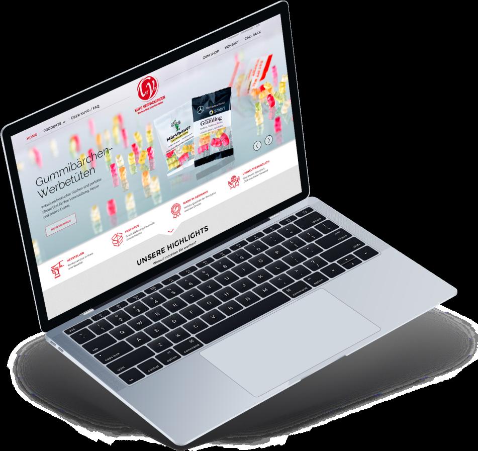 Website nach dem Relaunch auf einem Notebook