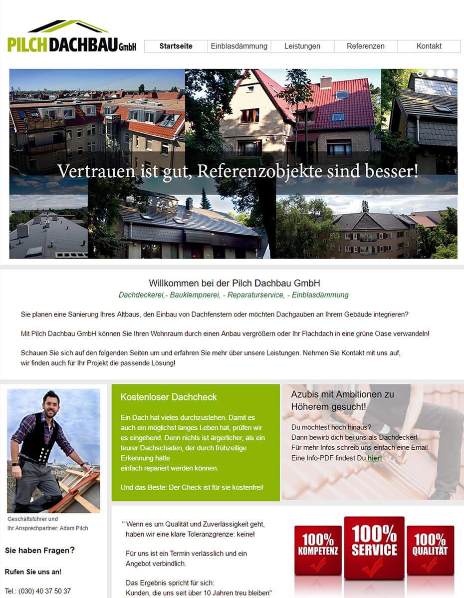 Website vor dem Relaunch - Dachdecker aus Berlin