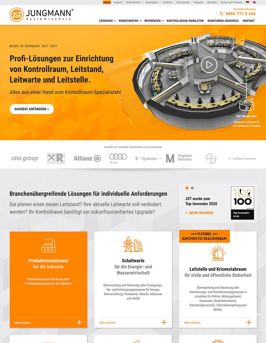 Website nach dem Relaunch - JST Jungmann Systemtechnik